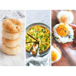 Bagels, Breakfast fritatta and egg cups